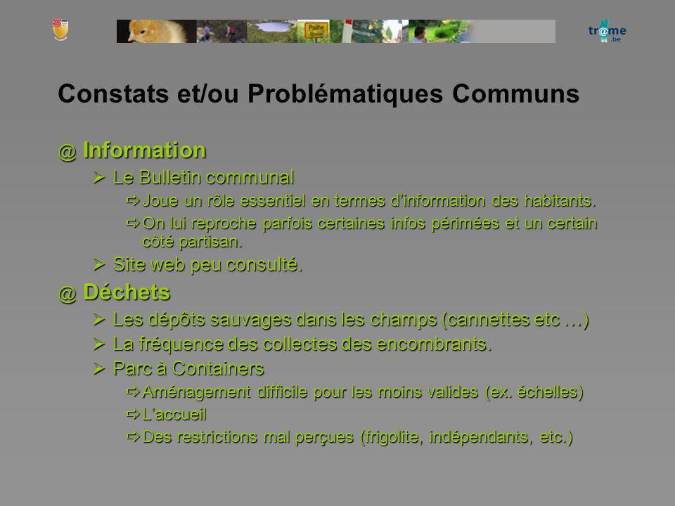 Constats et/ou Problématiques Communs