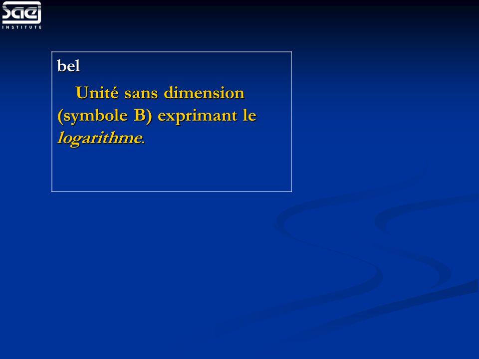 bel Unité sans dimension (symbole B) exprimant le logarithme.