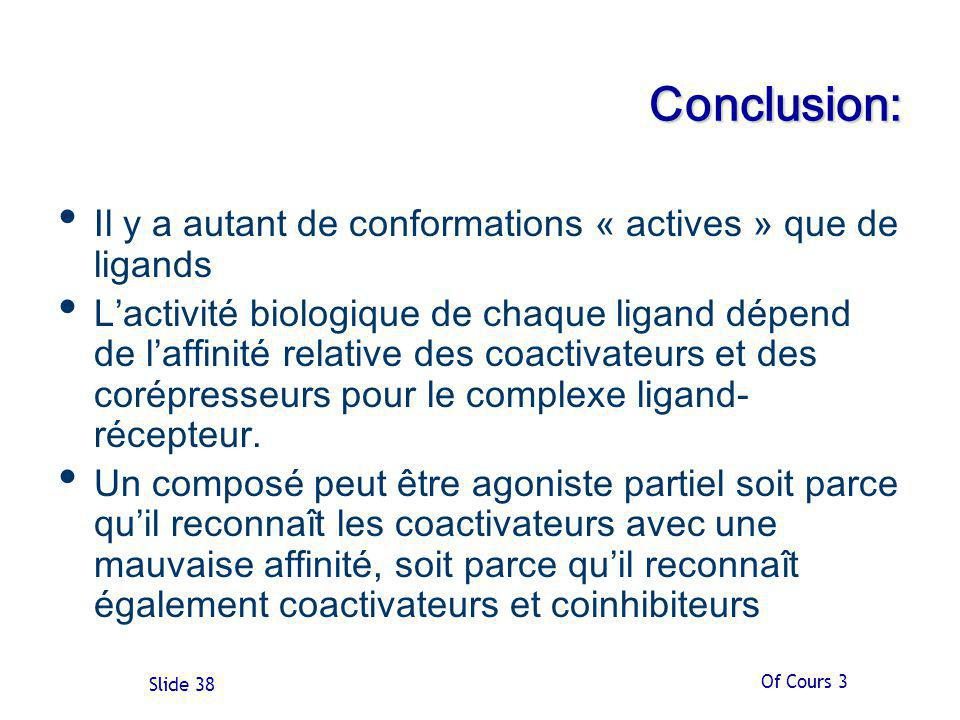 Conclusion: Il y a autant de conformations « actives » que de ligands