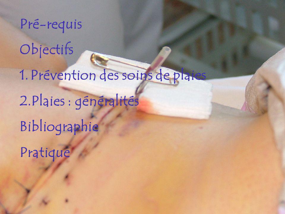 Pré-requis Objectifs Prévention des soins de plaies Plaies : généralités Bibliographie Pratique