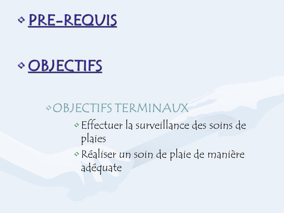 PRE-REQUIS OBJECTIFS OBJECTIFS TERMINAUX