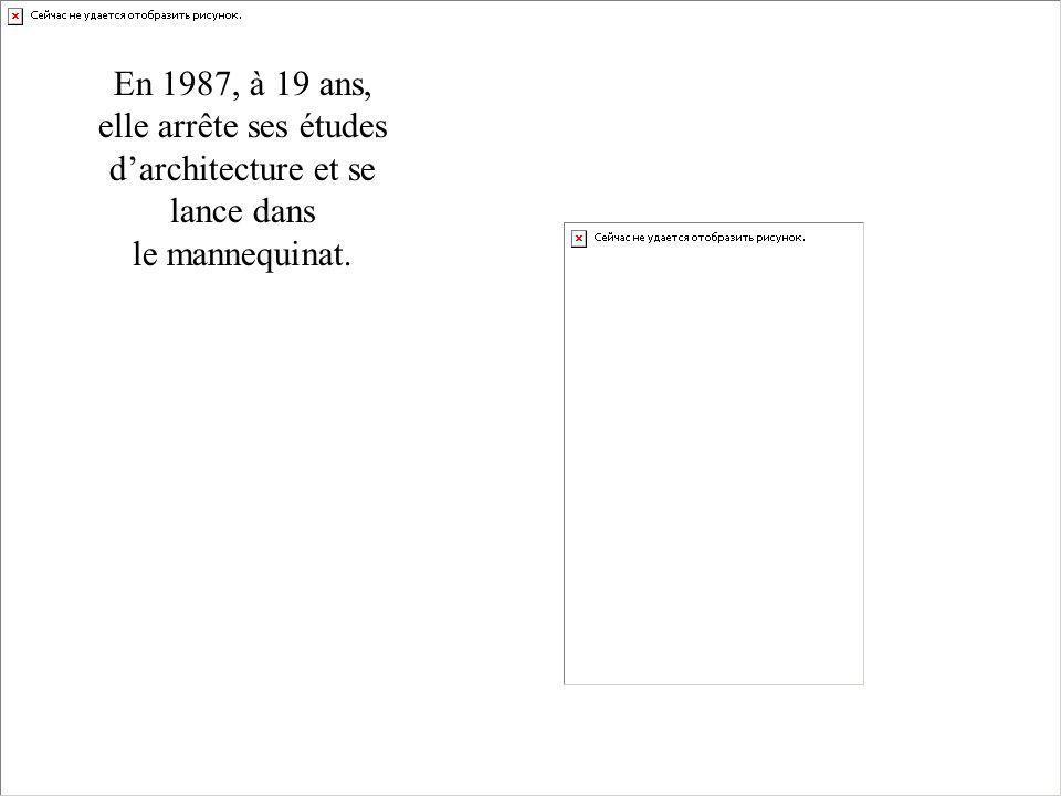En 1987, à 19 ans, elle arrête ses études d'architecture et se lance dans le mannequinat.