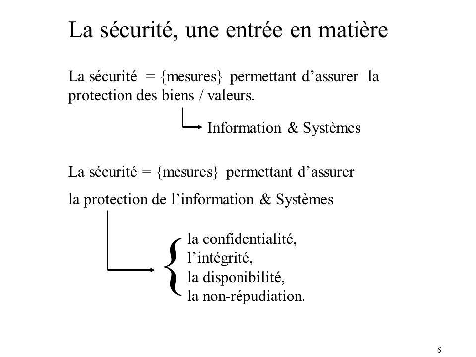 { La sécurité, une entrée en matière