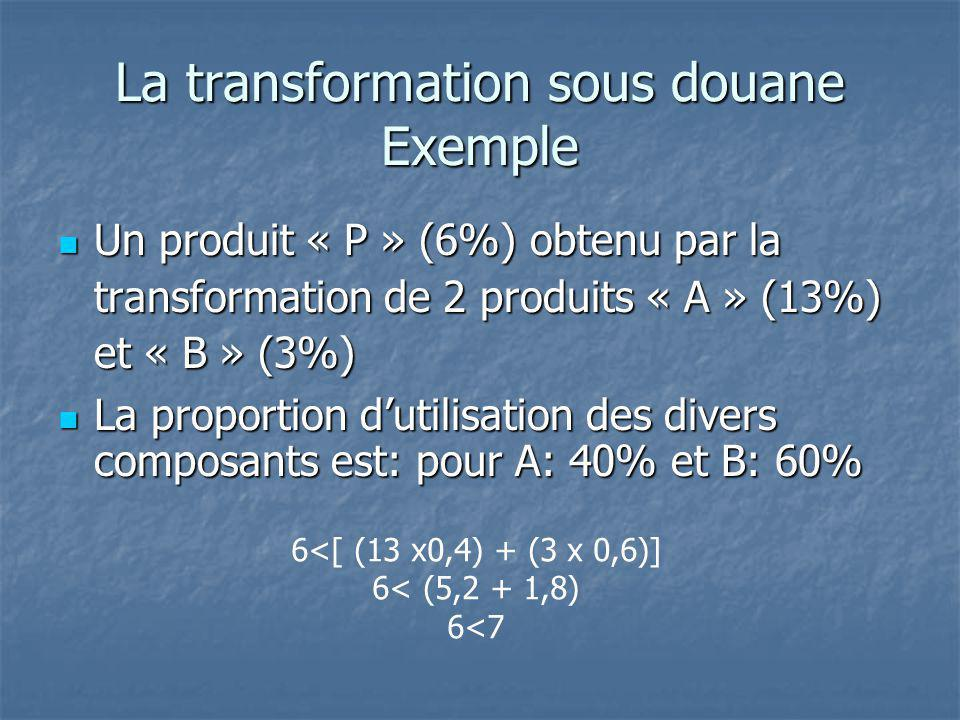 La transformation sous douane Exemple