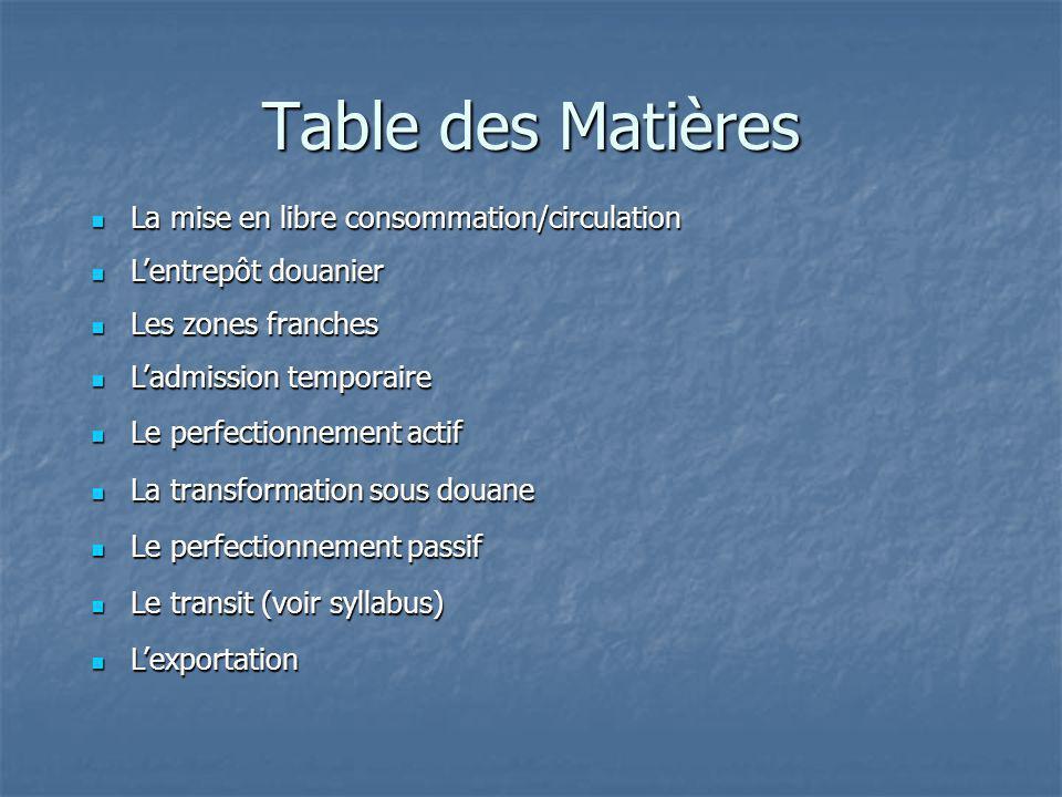 Table des Matières La mise en libre consommation/circulation