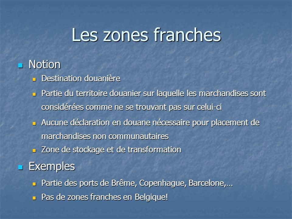 Les zones franches Notion Exemples Destination douanière