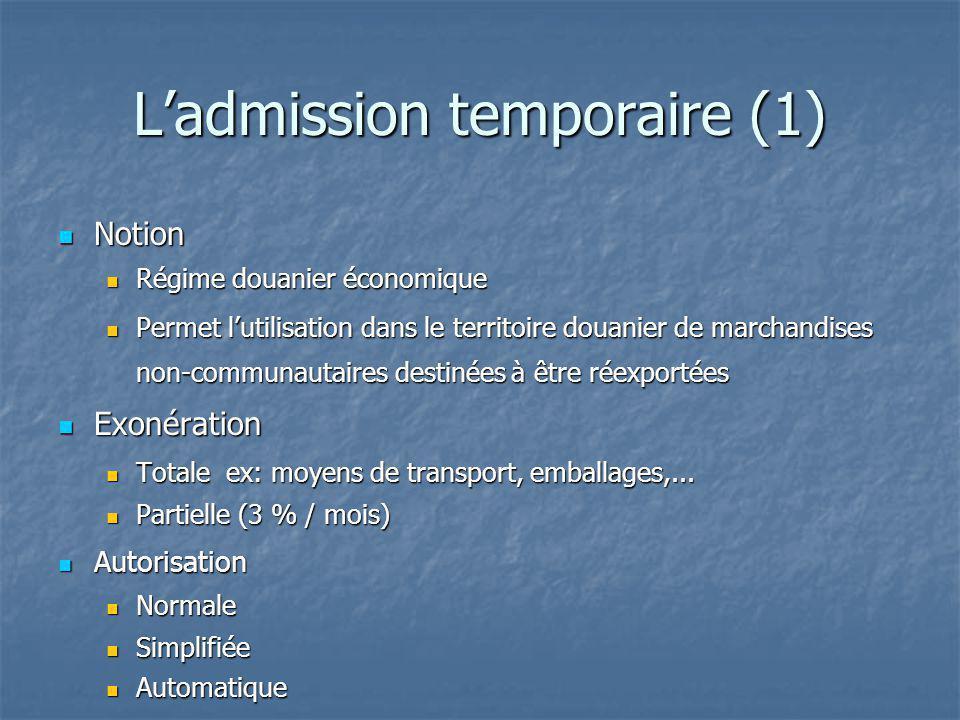 L'admission temporaire (1)