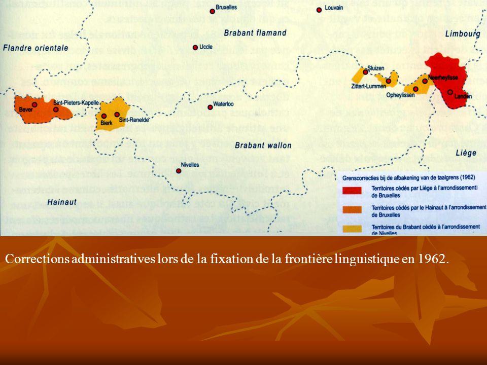 Corrections administratives lors de la fixation de la frontière linguistique en 1962.
