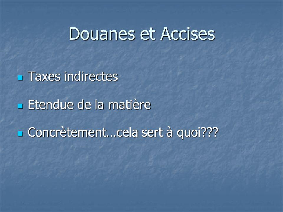 Douanes et Accises Taxes indirectes Etendue de la matière