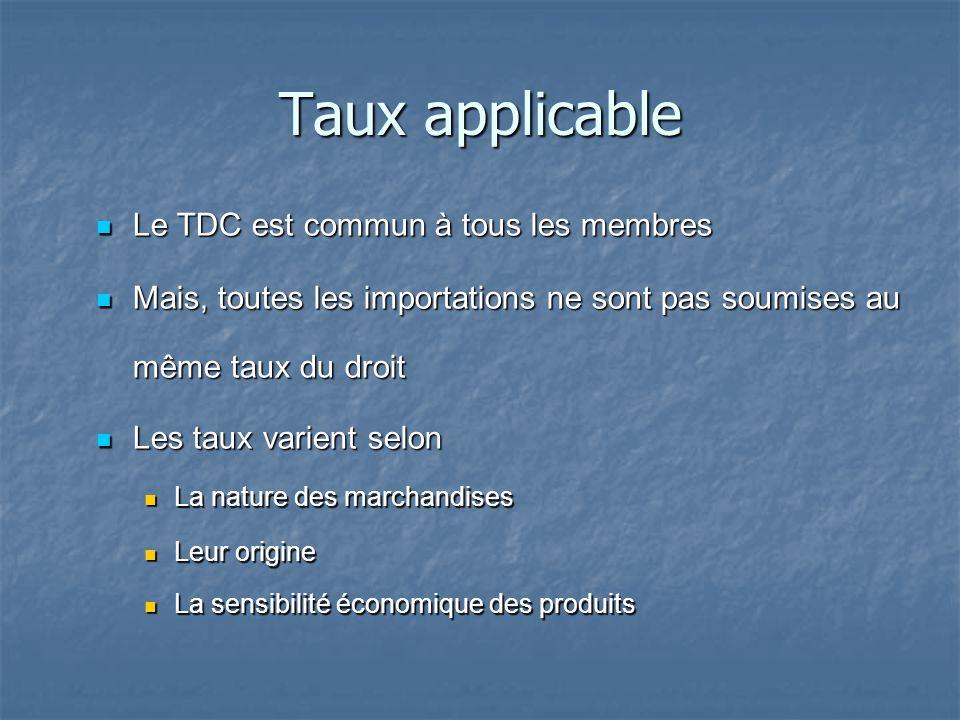 Taux applicable Le TDC est commun à tous les membres