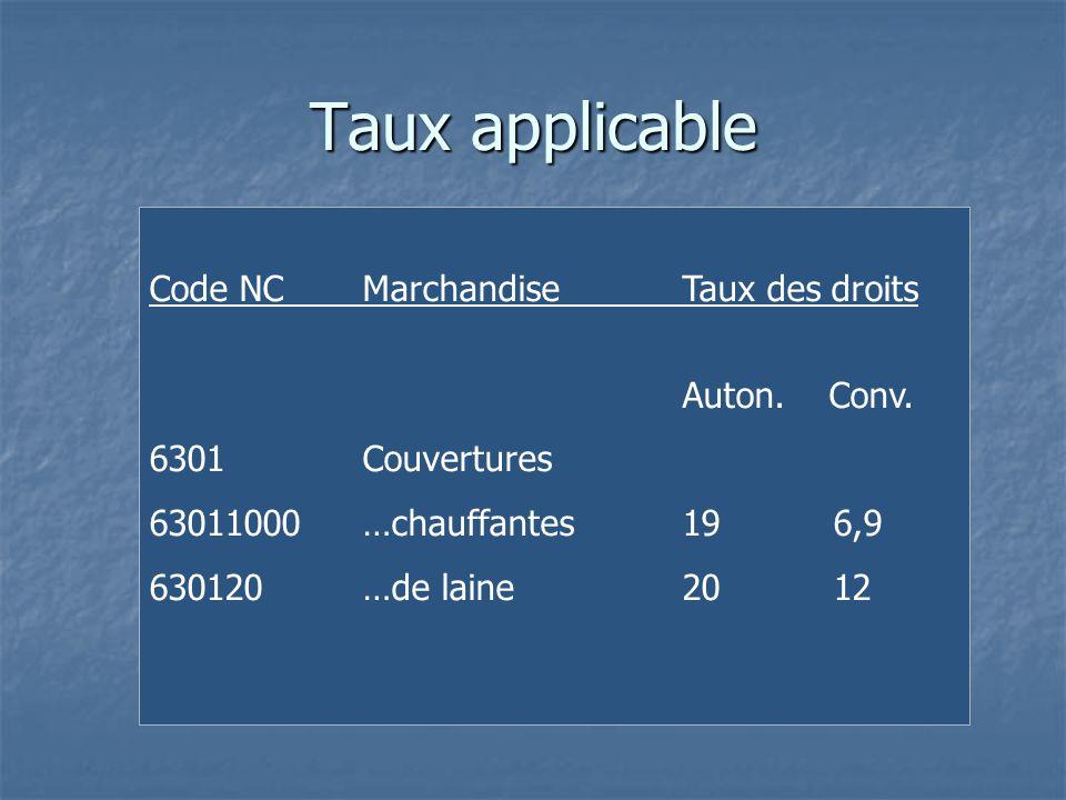 Taux applicable Code NC Marchandise Taux des droits Auton. Conv.