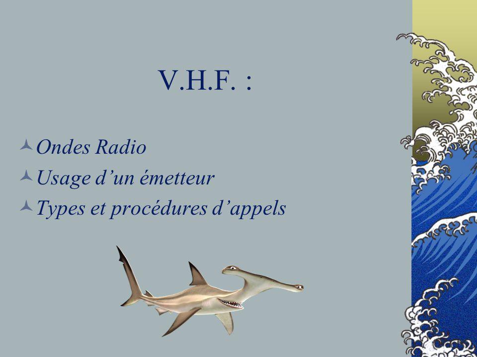V.H.F. : Ondes Radio Usage d'un émetteur Types et procédures d'appels