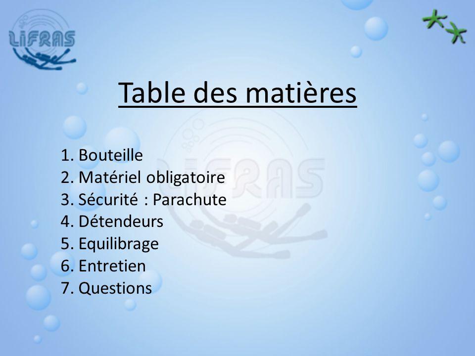 Table des matières Bouteille Matériel obligatoire Sécurité : Parachute