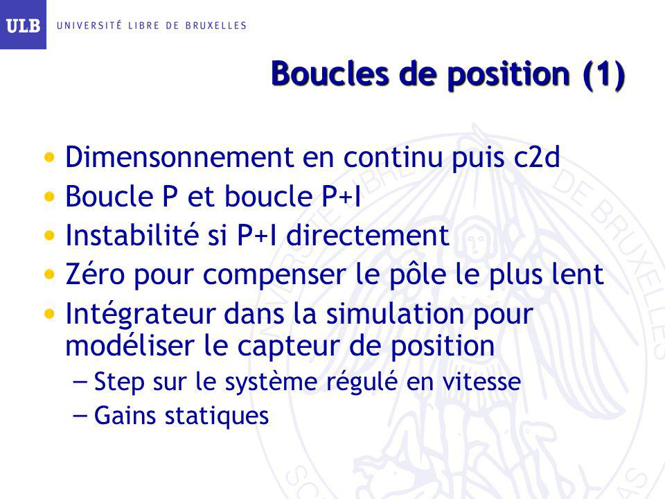 Boucles de position (1) Dimensonnement en continu puis c2d