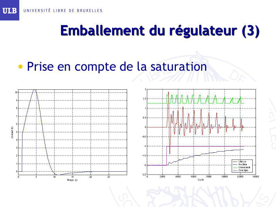 Emballement du régulateur (3)