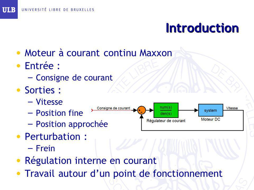Introduction Moteur à courant continu Maxxon Entrée : Sorties :