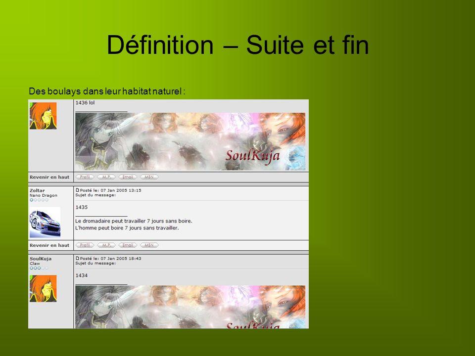Définition – Suite et fin