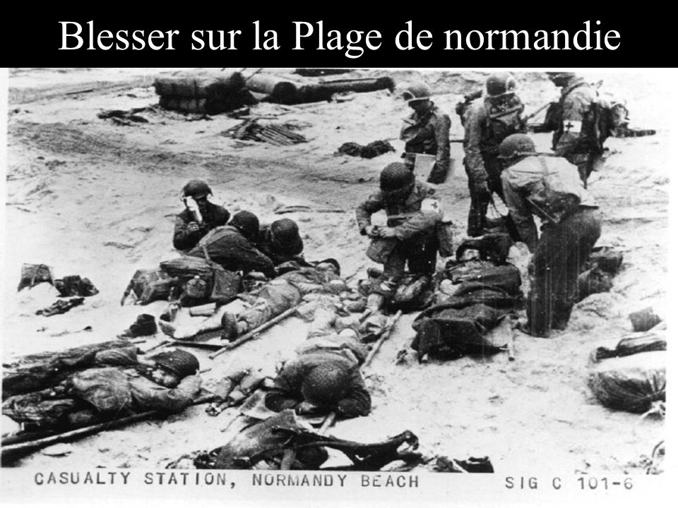 Blesser sur la Plage de normandie