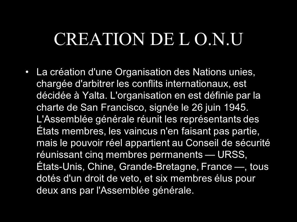 CREATION DE L O.N.U