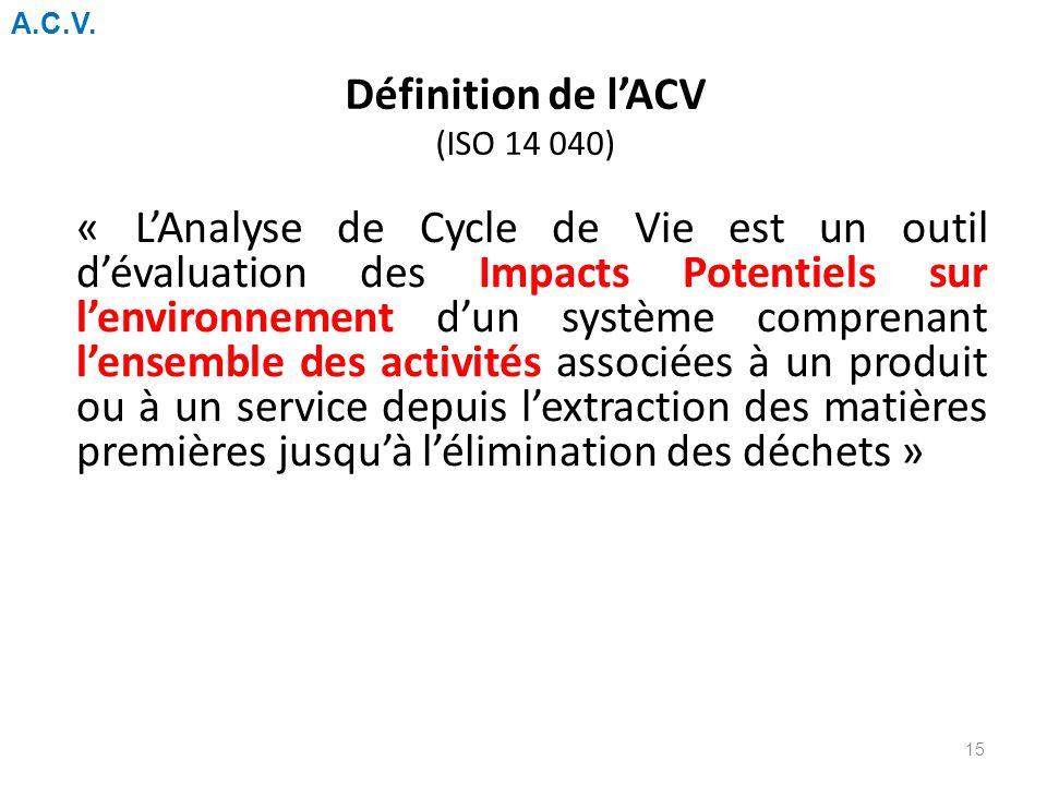 Définition de l'ACV (ISO 14 040)