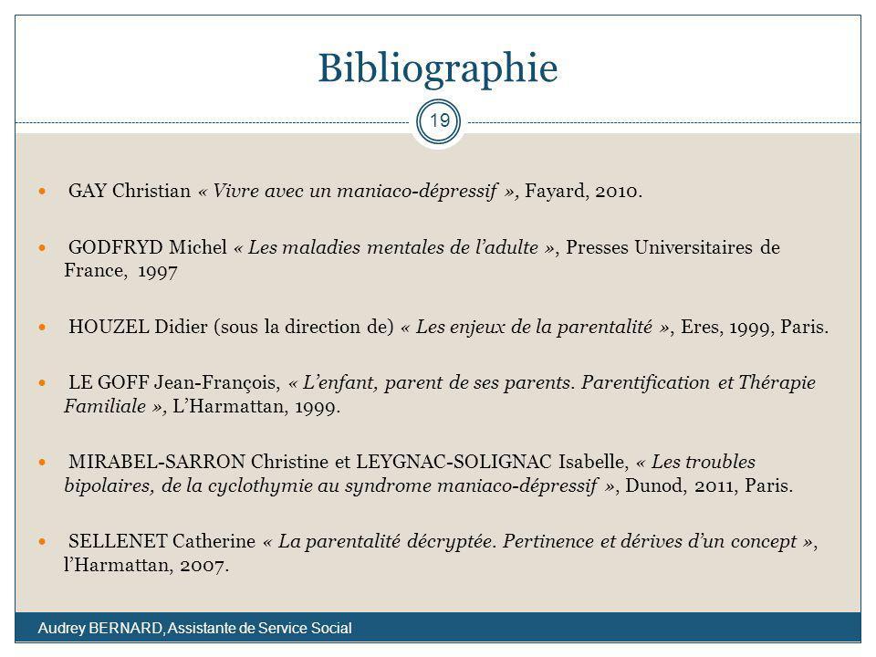 Bibliographie GAY Christian « Vivre avec un maniaco-dépressif », Fayard, 2010.