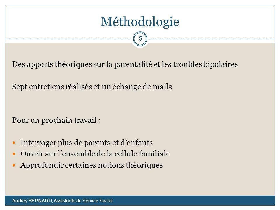Méthodologie Des apports théoriques sur la parentalité et les troubles bipolaires. Sept entretiens réalisés et un échange de mails.