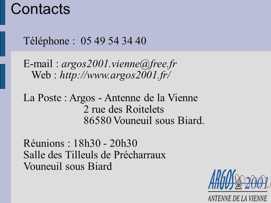 Contacts Téléphone : 05 49 54 34 40 E-mail : argos2001.vienne@free.fr