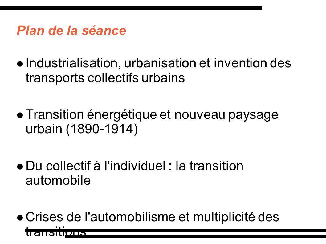 Plan de la séance Industrialisation, urbanisation et invention des transports collectifs urbains.
