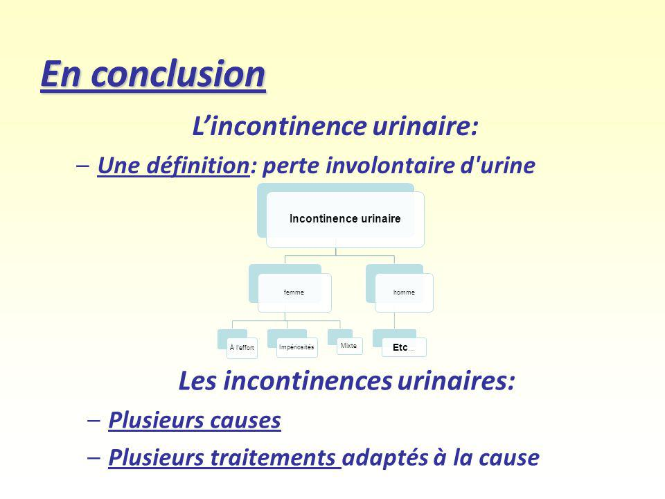 L'incontinence urinaire: