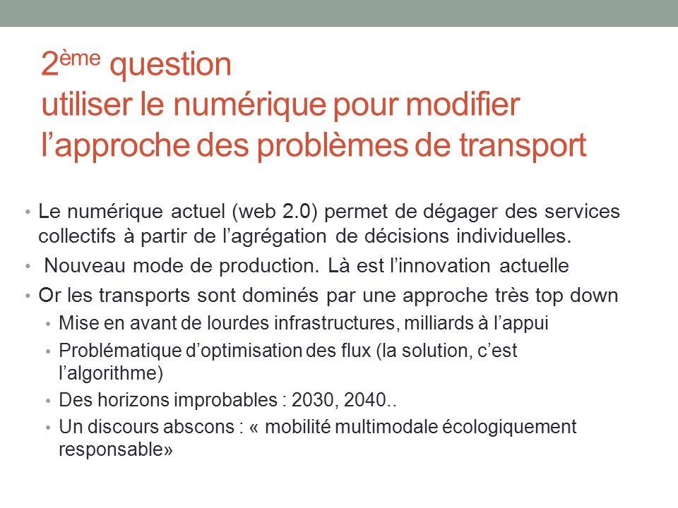 2ème question utiliser le numérique pour modifier l'approche des problèmes de transport