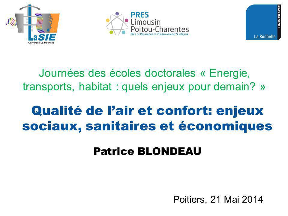 Qualité de l'air et confort: enjeux sociaux, sanitaires et économiques