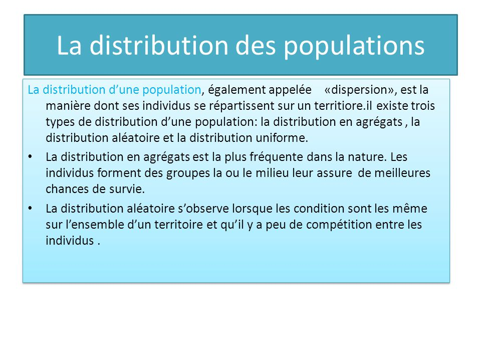 La distribution des populations