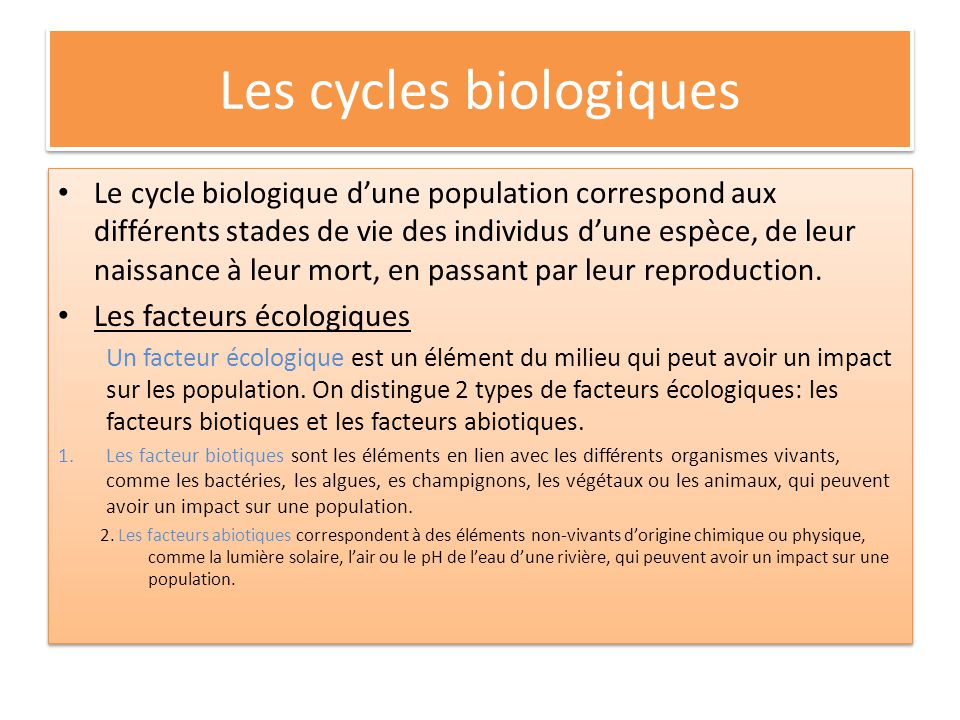 Les cycles biologiques