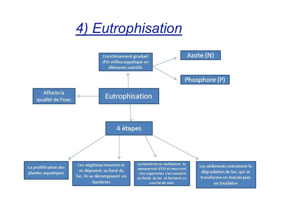 4) Eutrophisation Eutrophisation Azote (N) Phosphore (P) 4 étapes