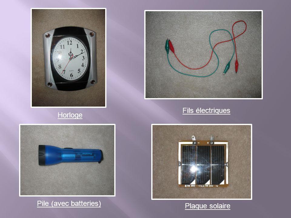 Fils électriques Horloge Pile (avec batteries) Plaque solaire