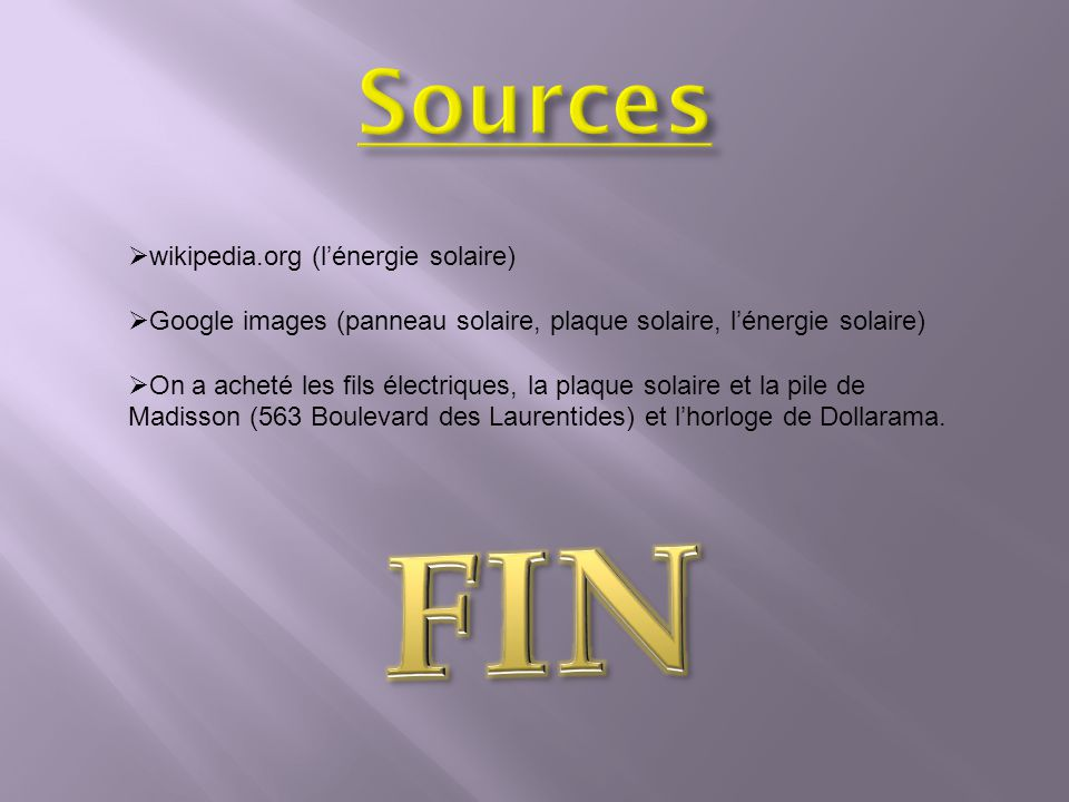 FIN Sources wikipedia.org (l'énergie solaire)