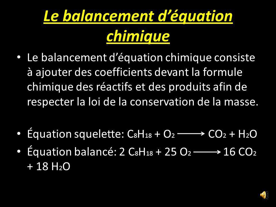 Le balancement d'équation chimique