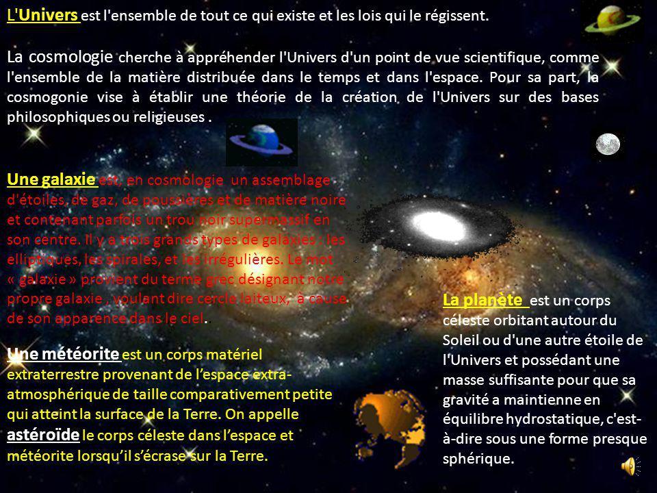 L Univers est l ensemble de tout ce qui existe et les lois qui le régissent.