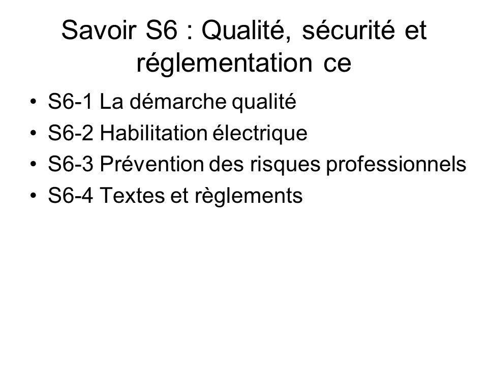 Savoir S6 : Qualité, sécurité et réglementation ce