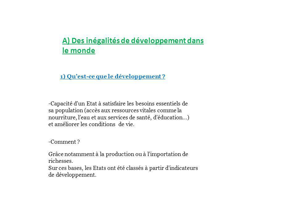 A) Des inégalités de développement dans le monde
