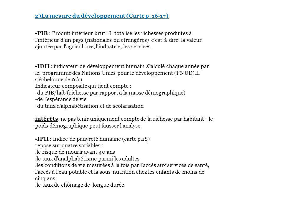 2)La mesure du développement (Carte p. 16-17)