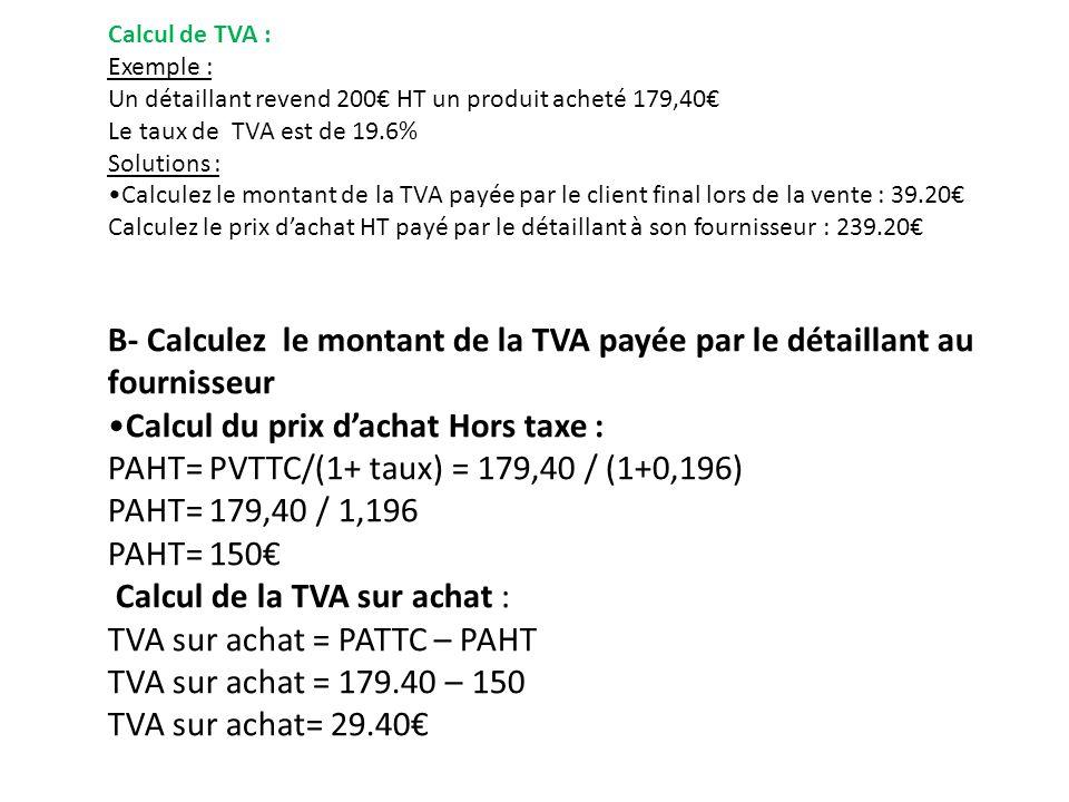 Calcul du prix d'achat Hors taxe :