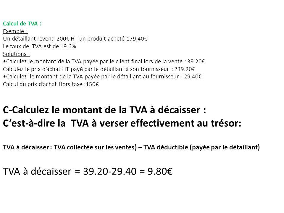 C-Calculez le montant de la TVA à décaisser :