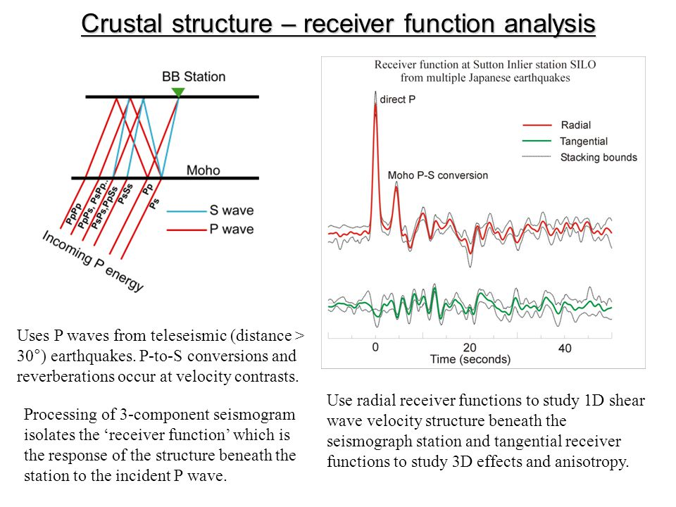 Crustal structure – receiver function analysis