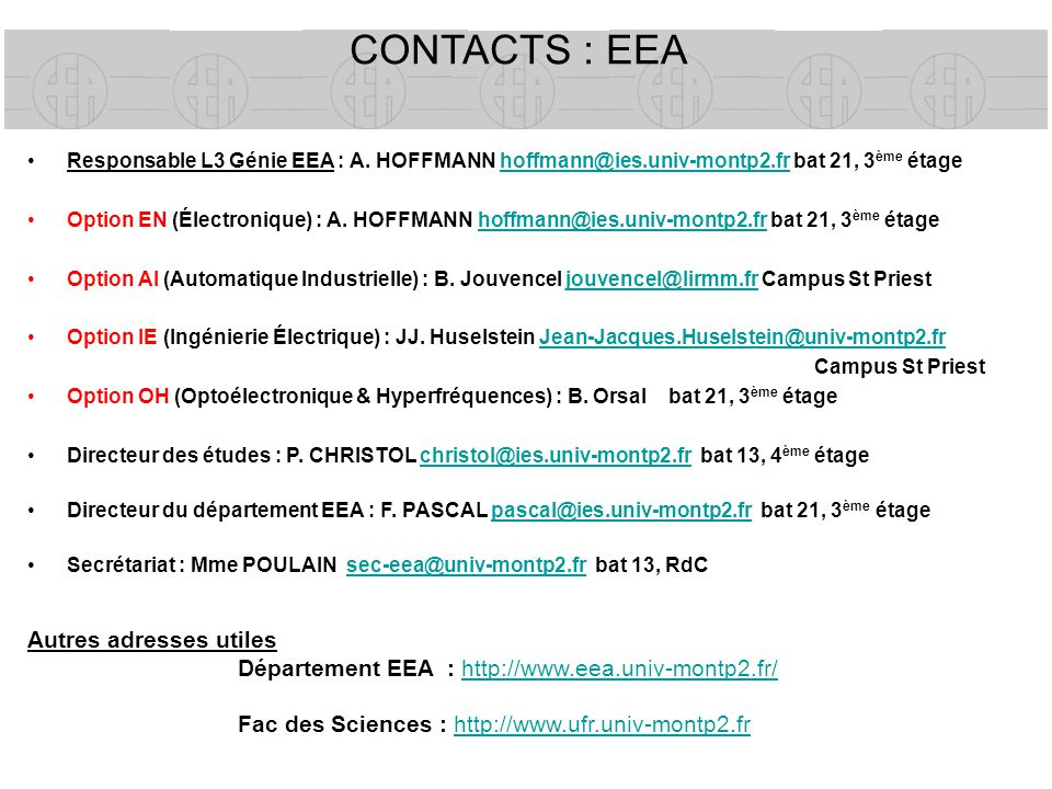 CONTACTS : EEA Autres adresses utiles