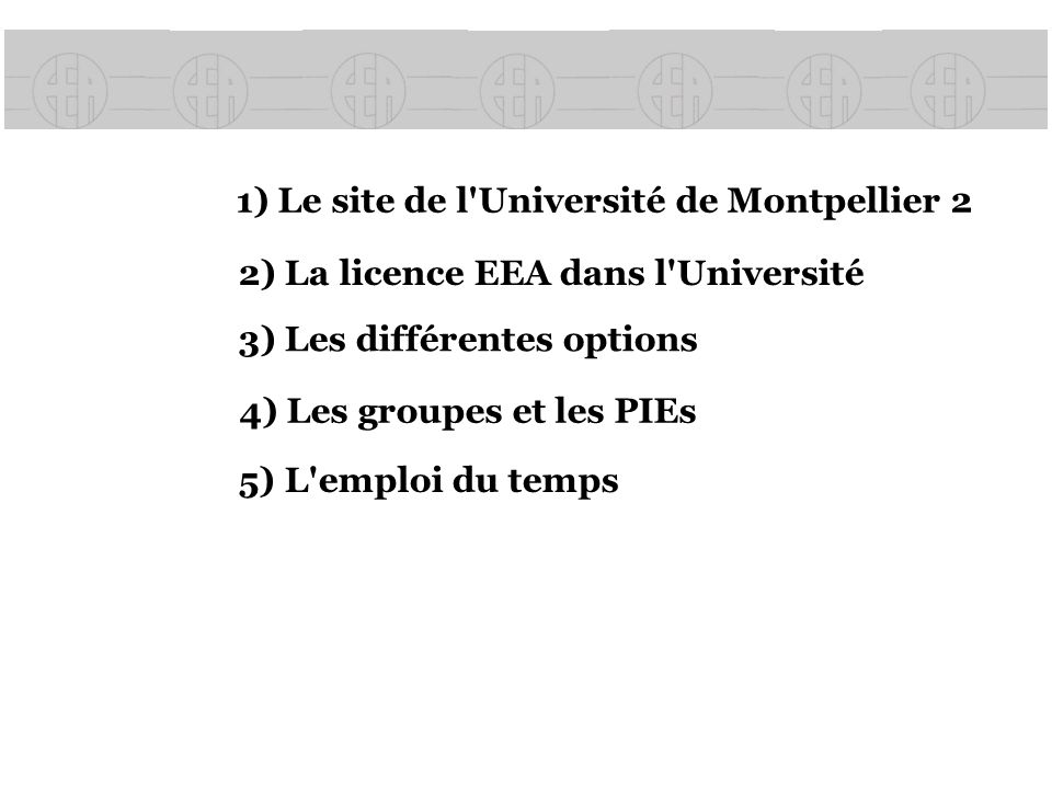 1) Le site de l Université de Montpellier 2