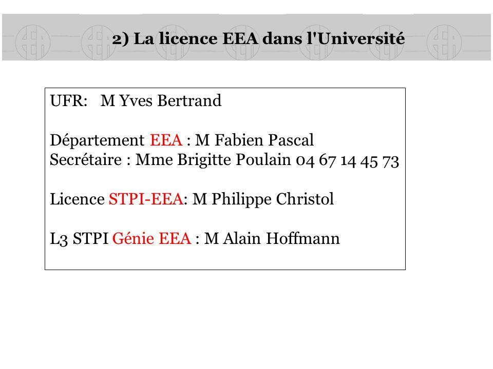 2) La licence EEA dans l Université