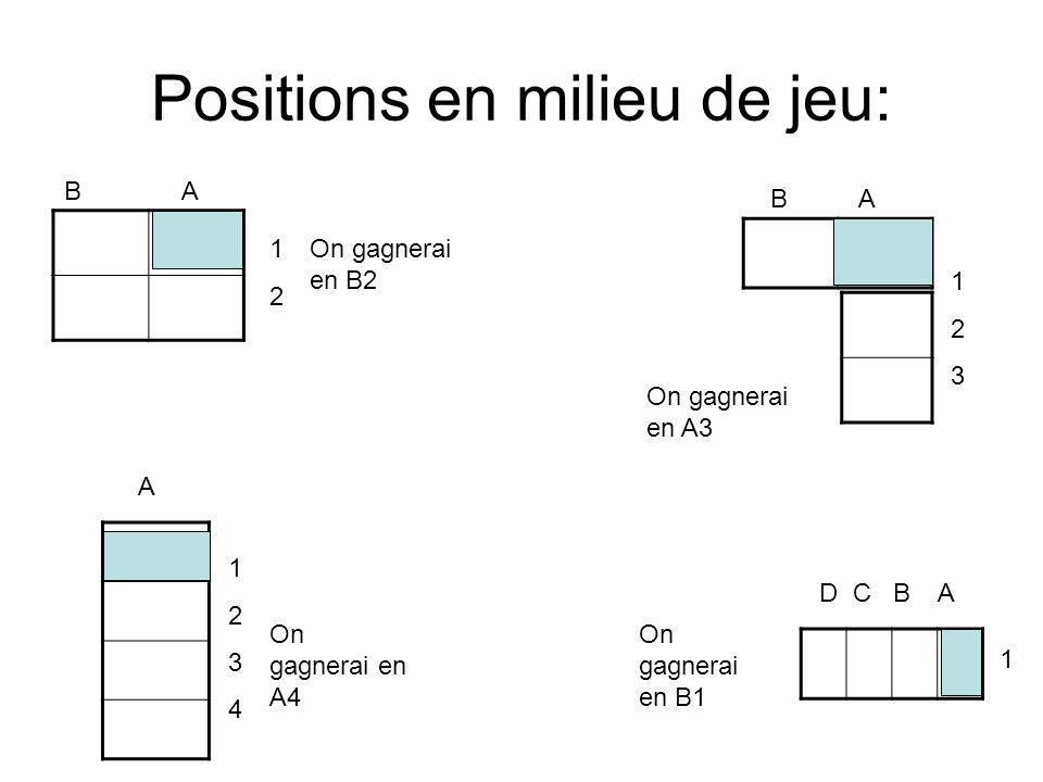 Positions en milieu de jeu: