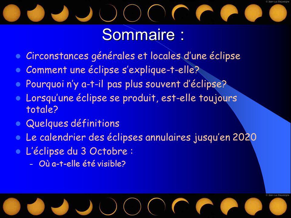 Sommaire : Circonstances générales et locales d'une éclipse