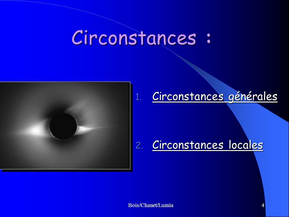Circonstances : Circonstances générales Circonstances locales